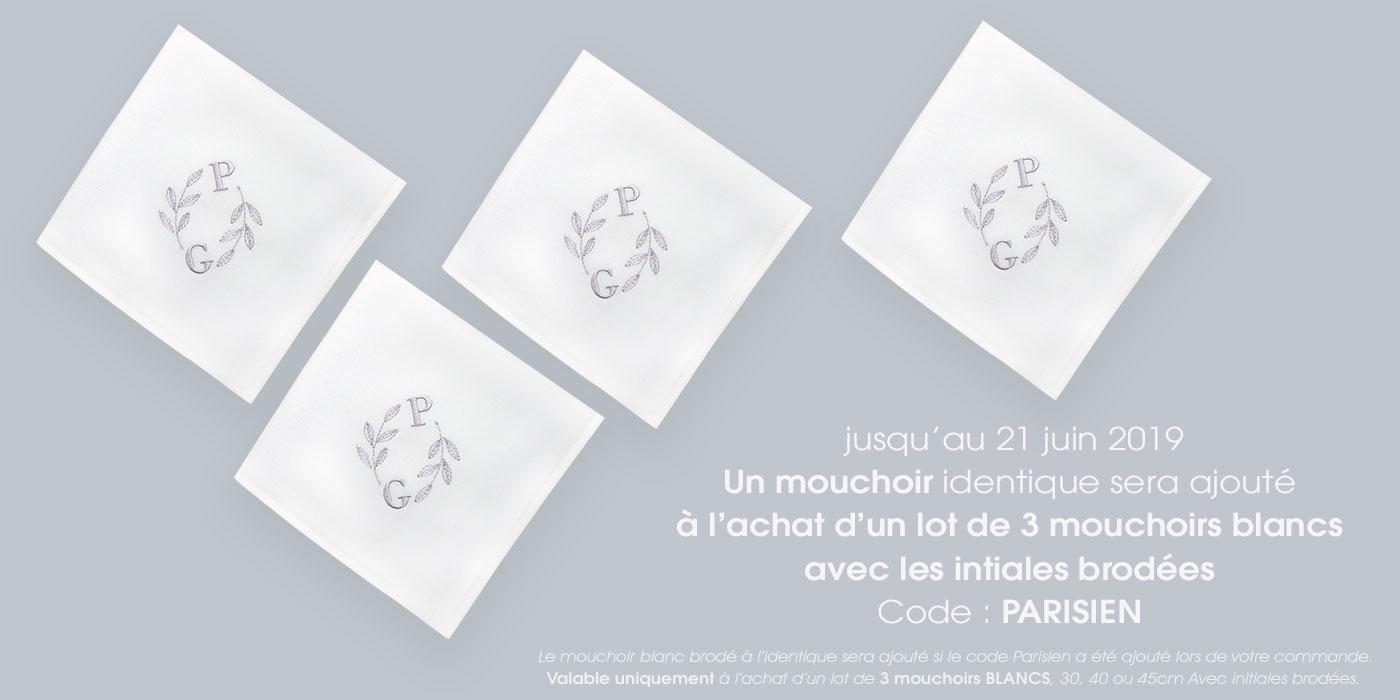 mouchoirs français coton bio personnalisés broderie initiales, mouchoirs made in France PhilippeGaber