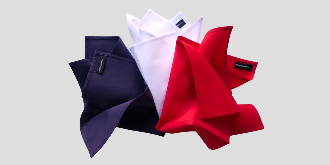 mouchoirs en coton bio made in France personnalisés avec vos initiales brodées à Paris par PhilippeGaber