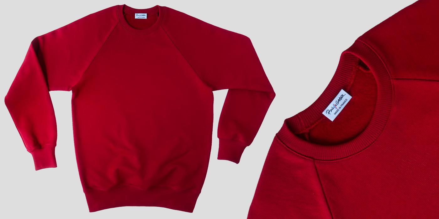 Sweat-shirt bio rouge Made in France & Gots, sweat-shirt français homme et Femme fabriqué à Paris par Philippe Gaber