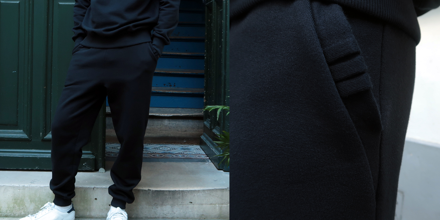 sweat pants Made in France en coton bio, sweatpants pour l'homme et la femme fabriqué à Paris par Philippe Gaber