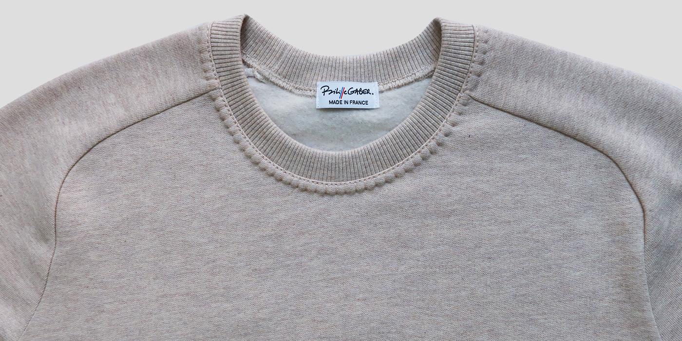 Sweat-shirt bio et Made in France sweat à manches marteau homme et femme fabriqué à Paris Philippe Gaber