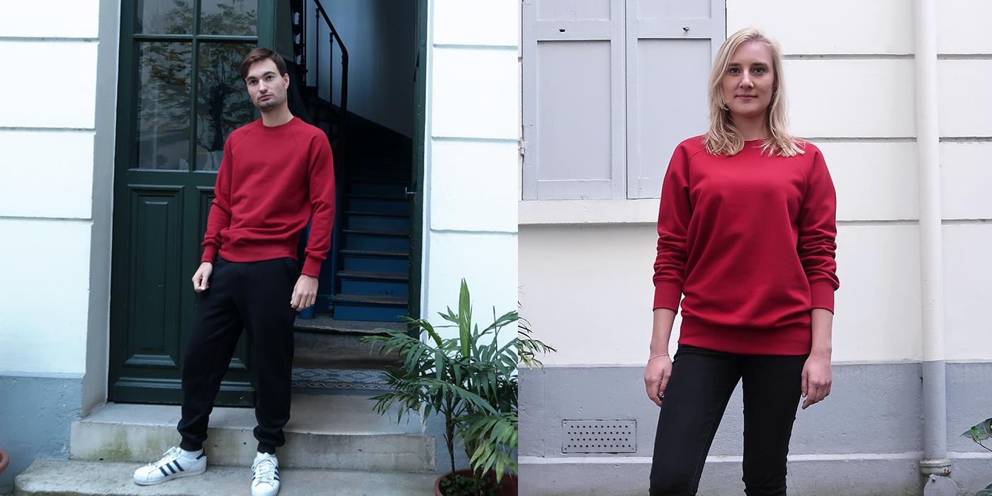 Guide des tailles du sweat-T-shirt homme et femme fabriqué à Paris T-shirt bio made in France Philippe gaber