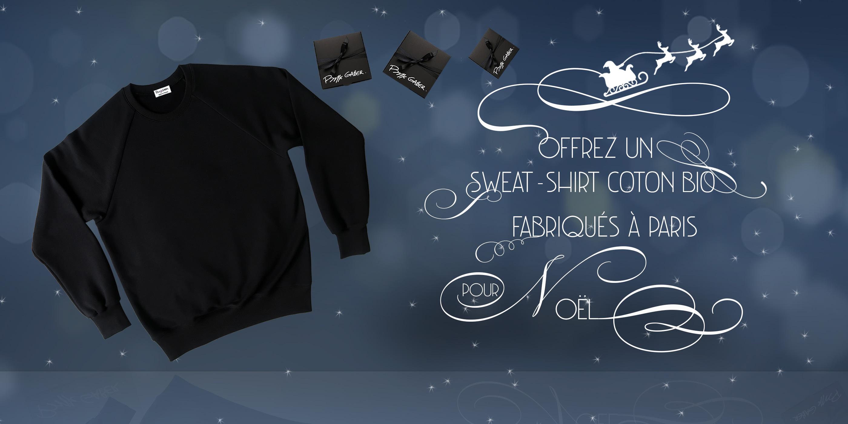 Sweat-shirt Made in France coton bio Gots sweatshirt hoodies pour l'homme et la femme fabriqués à Paris par Philippe Gaber une mode éthique made in France PhilippeGaber