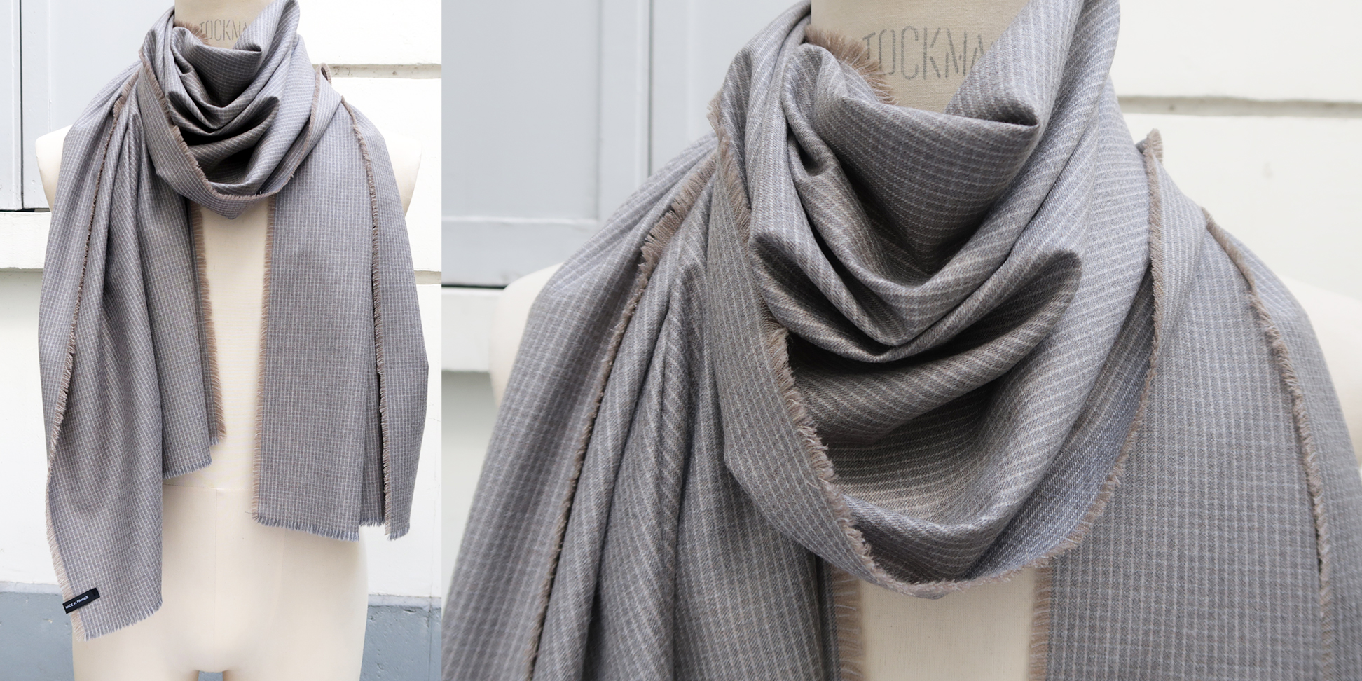 Wool and cashmere scarf gray sand made in France | PhilippeGaber