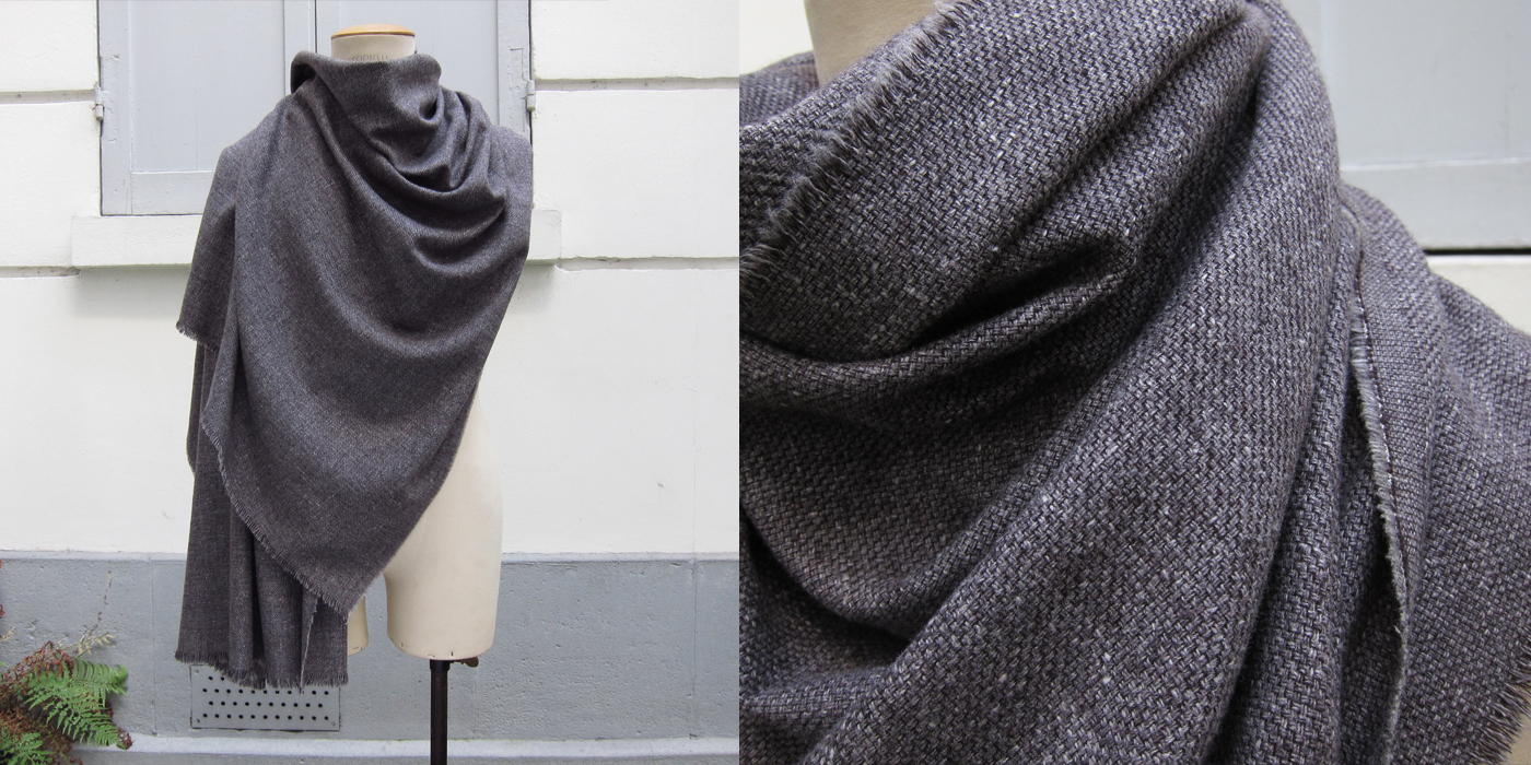 Men's and Women's Parisian mist scarf weathered grey from virgin wool, cotton & cashmere. Scarves Made in France by Philippegaber