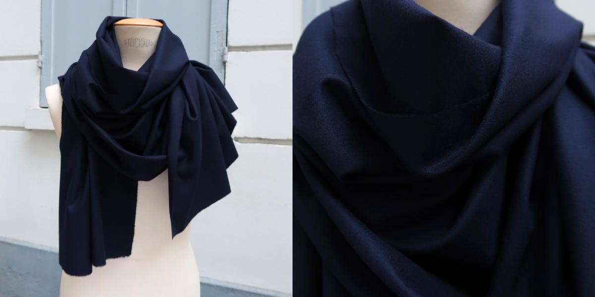 écharpe cachemire et laine noir made in France écharpe luxe Paris pour l'homme et la femme en édition limitées exclusives et made in france par PhilippeGaber