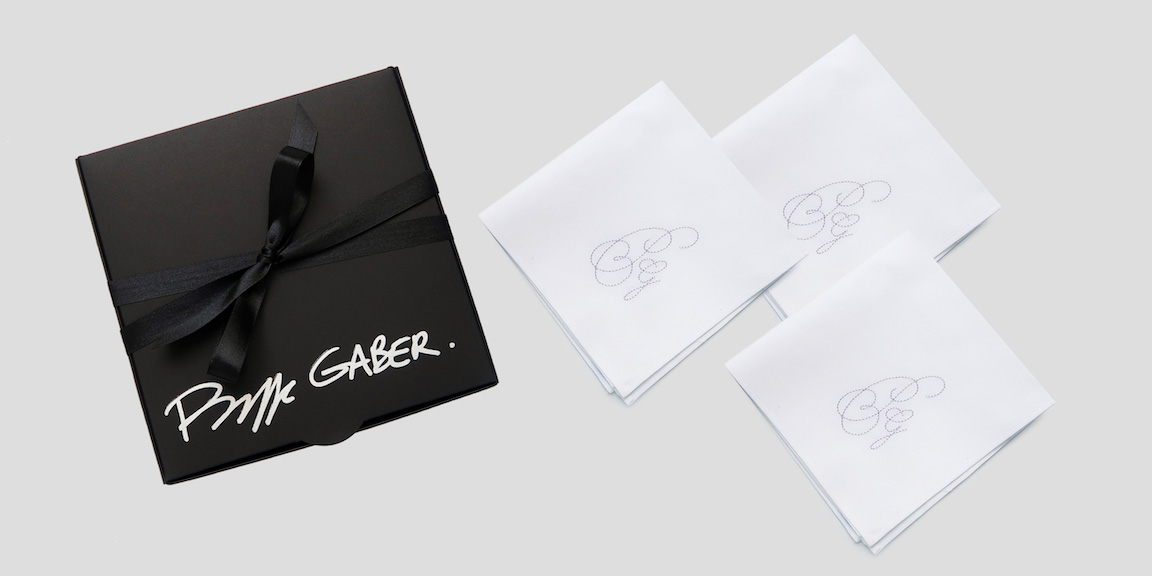 Organic handkerchief made in France, woven in France, rolled, embroidered and personalized in Paris Your exclusive personalized organic Handkerchiefs with your initial / monograms embroidered by Philippe Gabe