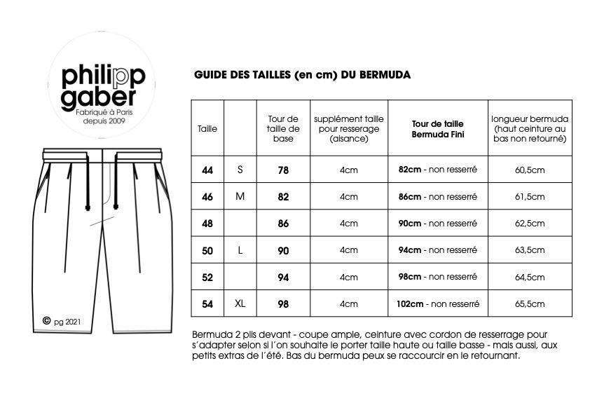 guide des tailles du bermuda en Jeans coton biologique fabriqué à Paris par Philippegaber
