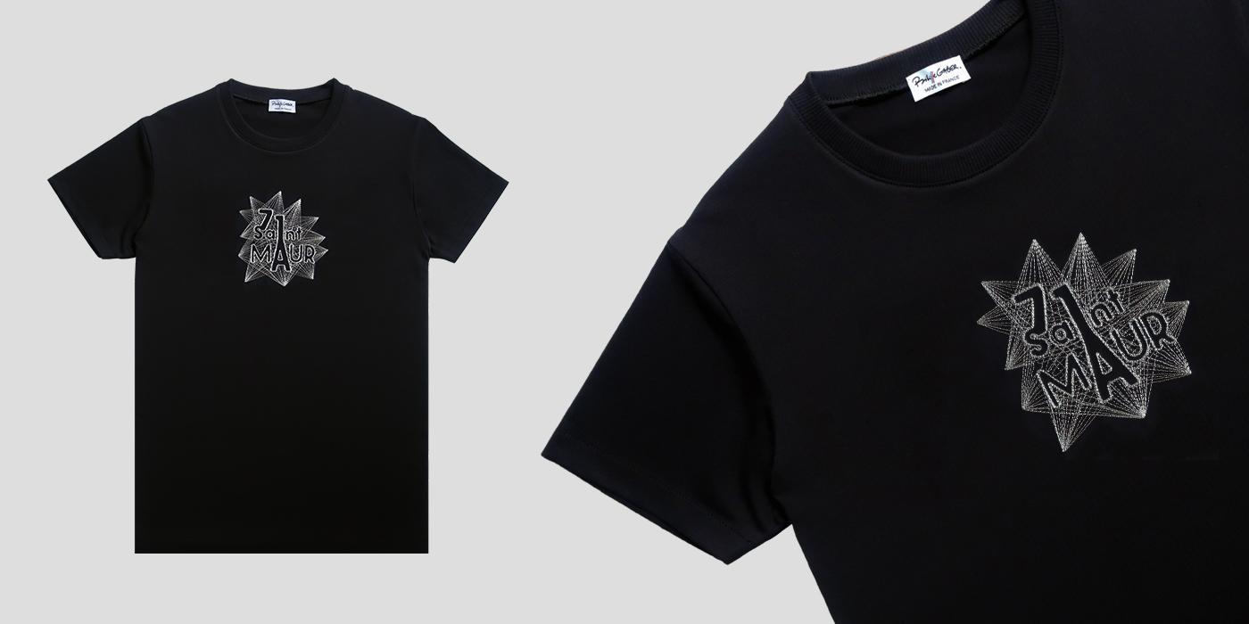 T-shirt Made in France et bio noir brodé et fabriqué à Paris par Philippegaber Artisan Paris T-shirt coton biologique certifié Gots pour l'homme et la femme