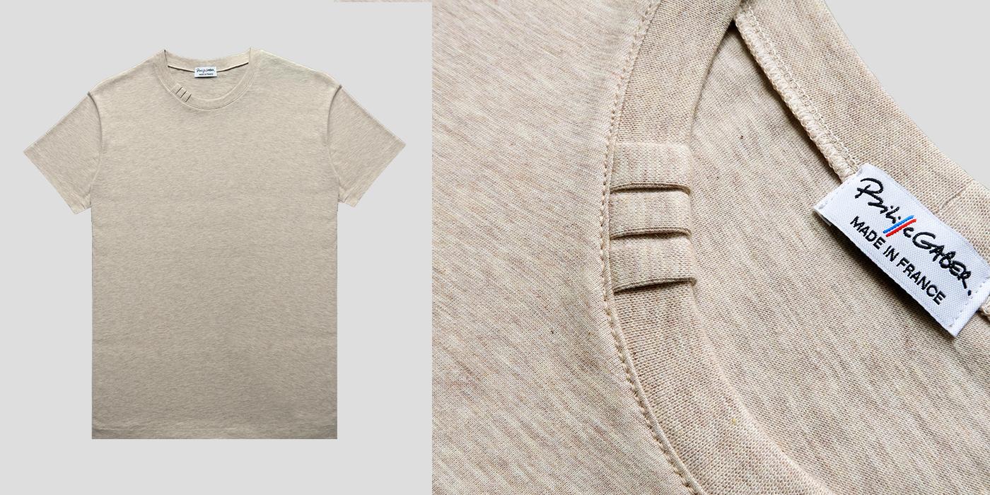 t-shirt bio et Made in France avec signature exclusive Philippe Gaber 3 plis sur le col sceau de garantie : fabriqué à Paris par Philippe lui même