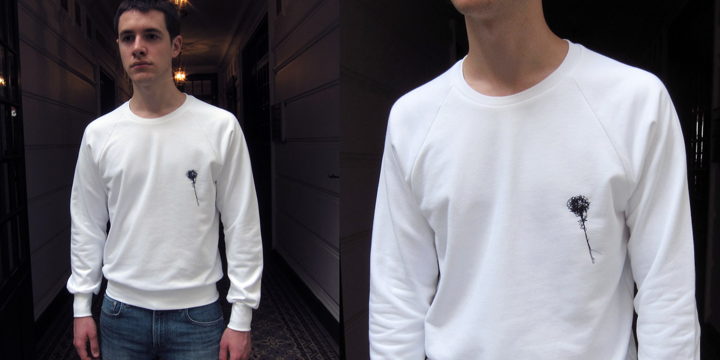 Organic white embroideredsweatshirt Made in Franceorganic sweater for Men and Womenmade in Paris byPhilippe Gaber
